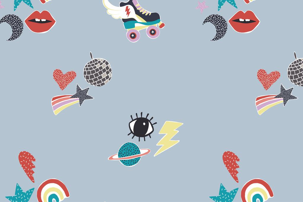 卡通红唇月亮星星地球彩虹图案印花衬衫t恤