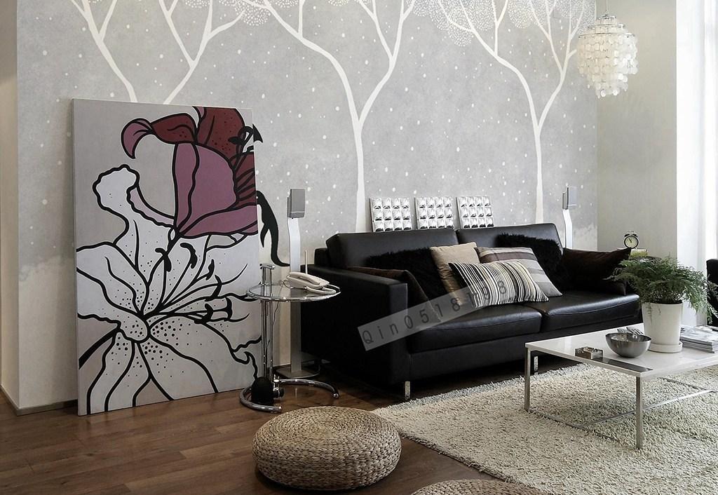 北欧简约抽象森林大树企鹅手绘电视背景墙