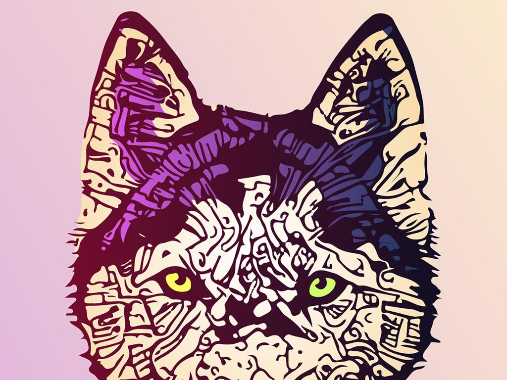 手绘卡通动物艺术效果抱枕图案