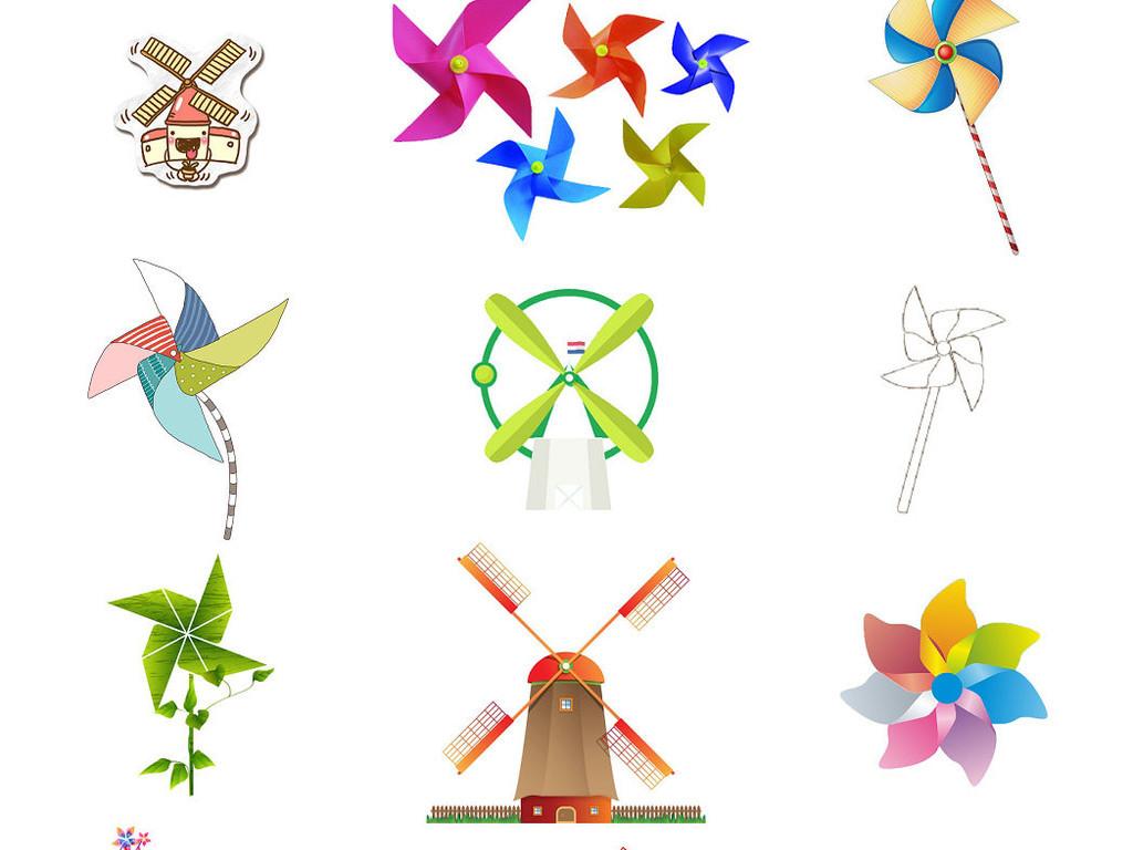 手绘纸风车卡通风车儿童风车1
