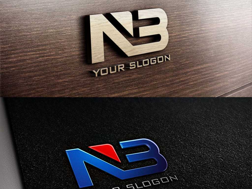 NB字母组合蓝色创意LOGO设计标志设计