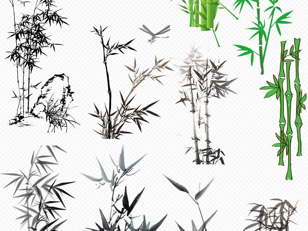 水墨画竹子矢量素材                                  绿色竹子手绘