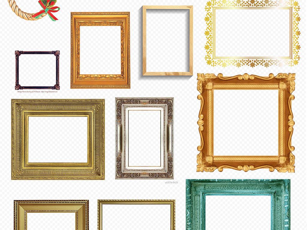 金色边框高档边框背景欧式花纹古典花边相框边角实木