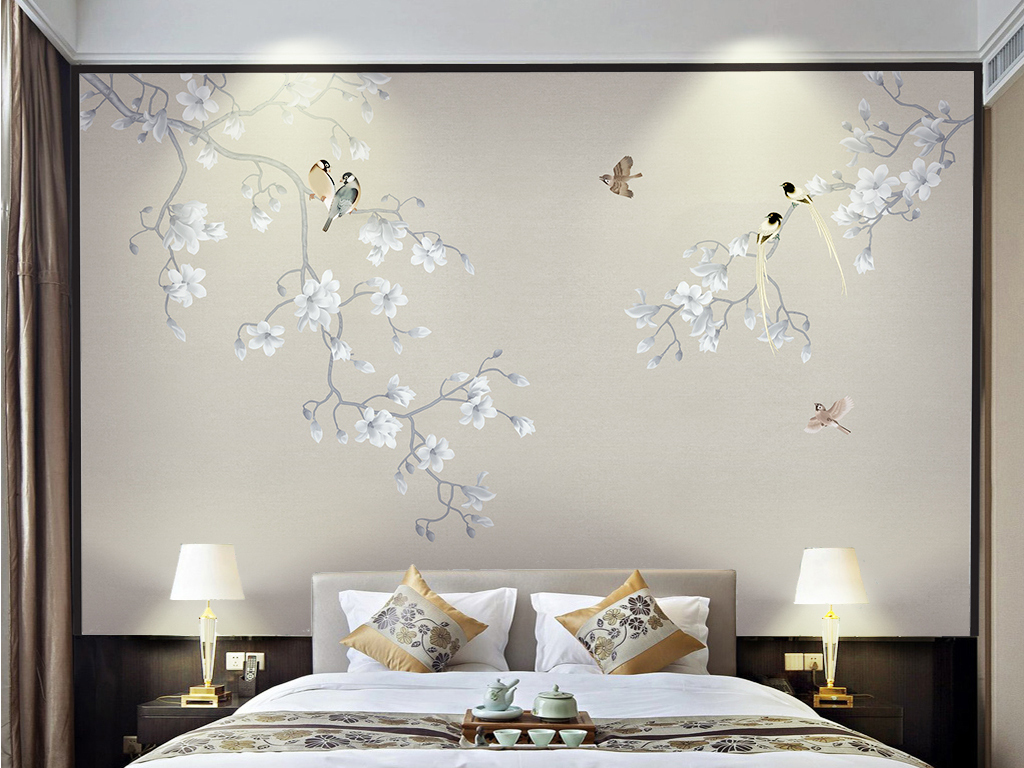 中式电视背景墙 > 中式玉兰花开富贵手绘工笔花鸟背景墙屏风  素材