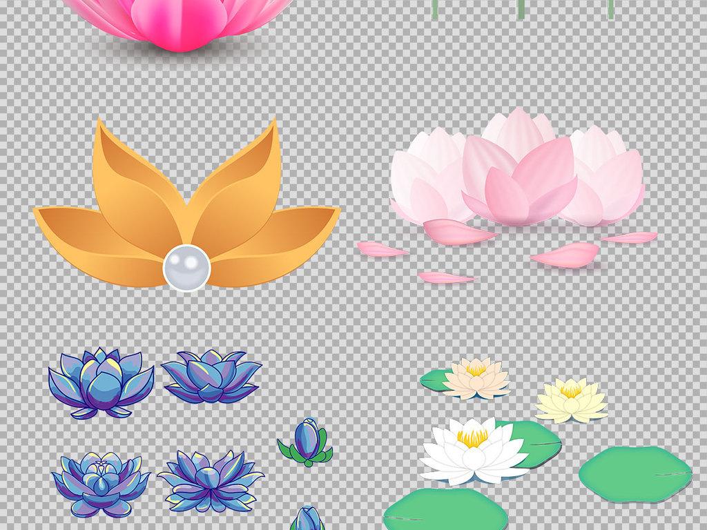 花瓣莲花手绘荷花免抠手绘素材免抠素材荷花手绘莲花手绘透明图荷花
