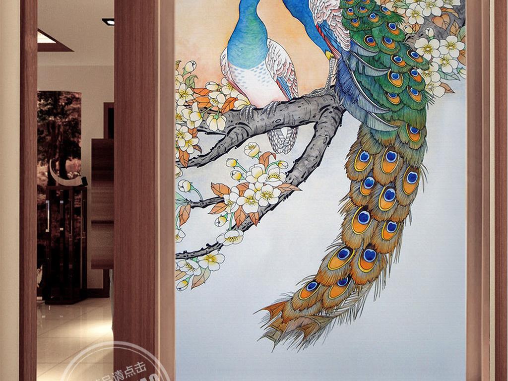 手绘彩色孔雀玄关背景墙