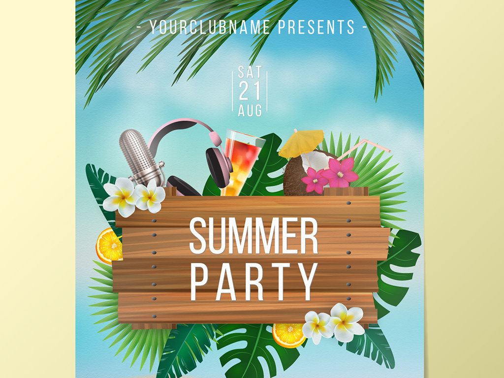 ppt背景时尚美容女性海报旅游渡假聚会派对艺术节花卉沙滩热带植物