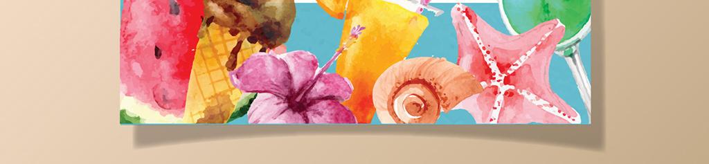 唯美手绘水彩夏季水果冰淇淋泠饮店宣传海报
