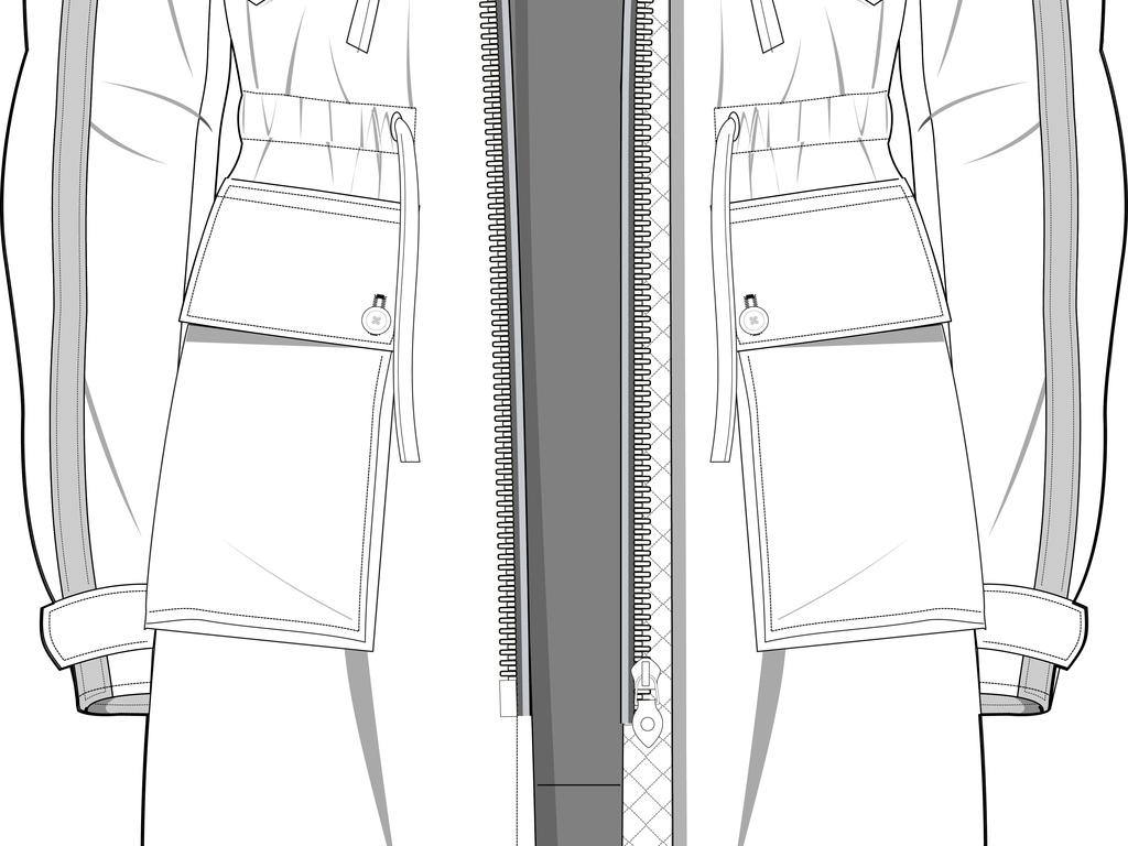 大衣手绘图效果图
