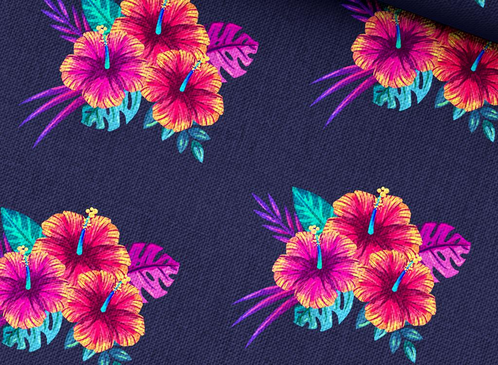 多彩手绘水彩热带花草抱枕床品印花图案矢量