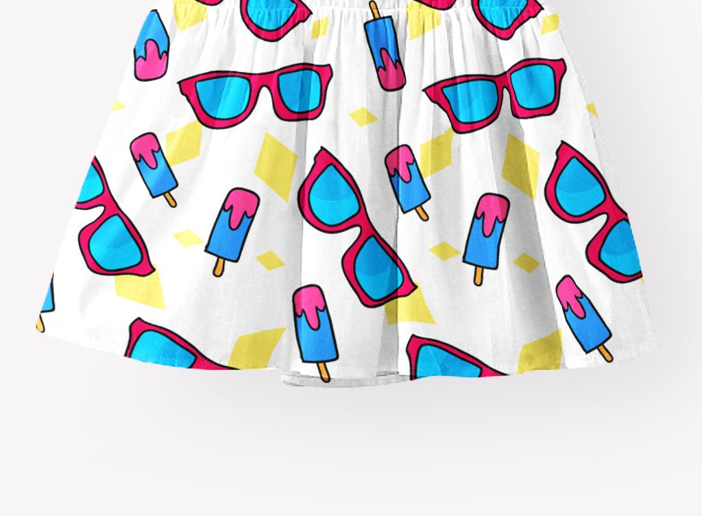 卡通图案 > 沙滩鞋太阳镜西瓜菠萝夏季素材童裙矢量印花  素材图片