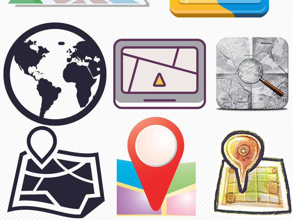 png)卡通地图gps定位图标标志精准定位图片素材psd地址定位