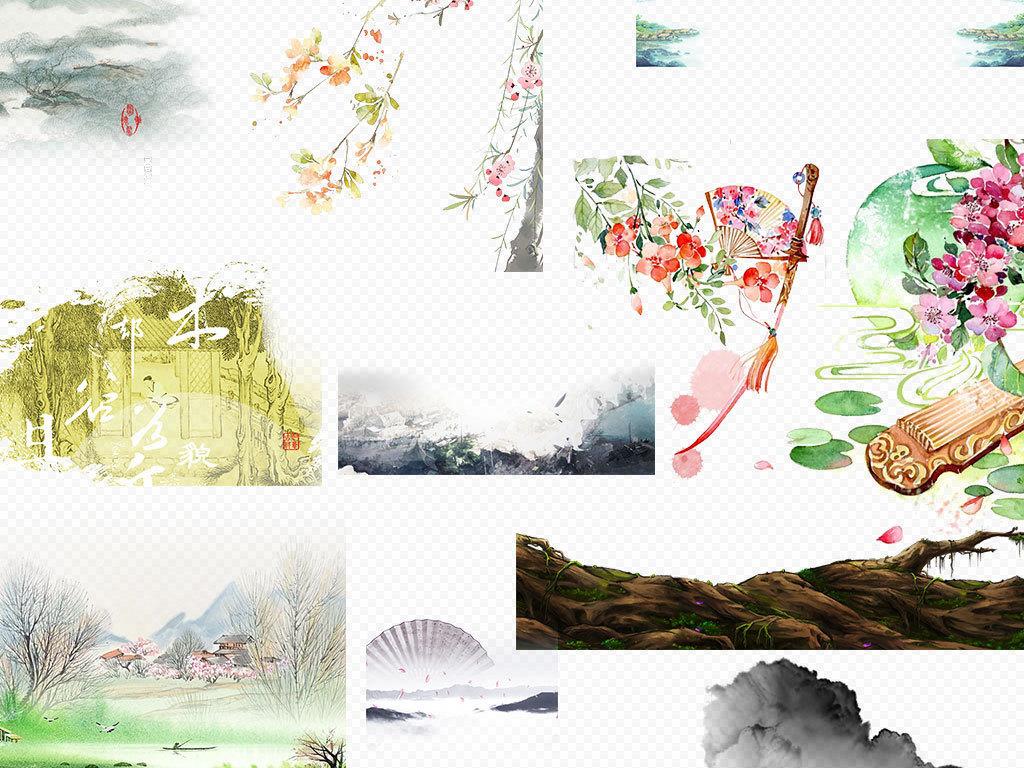 中国风古风风景画背景png素材