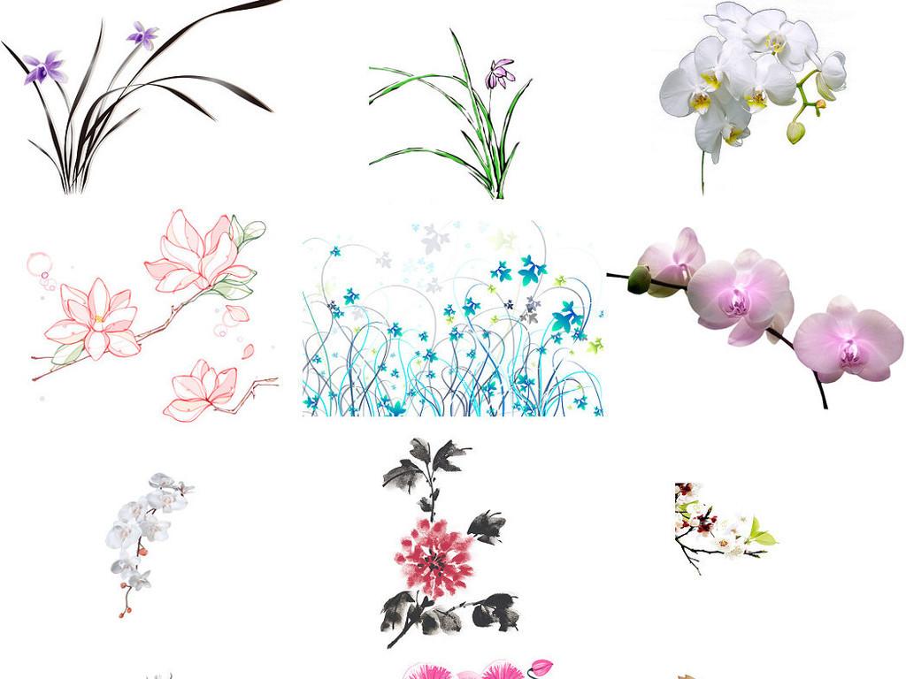 手绘彩绘木兰花玉兰植物素材2