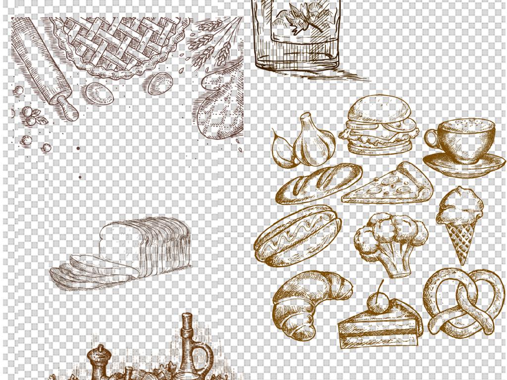 西点甜点素材手绘食品面包png免扣素材