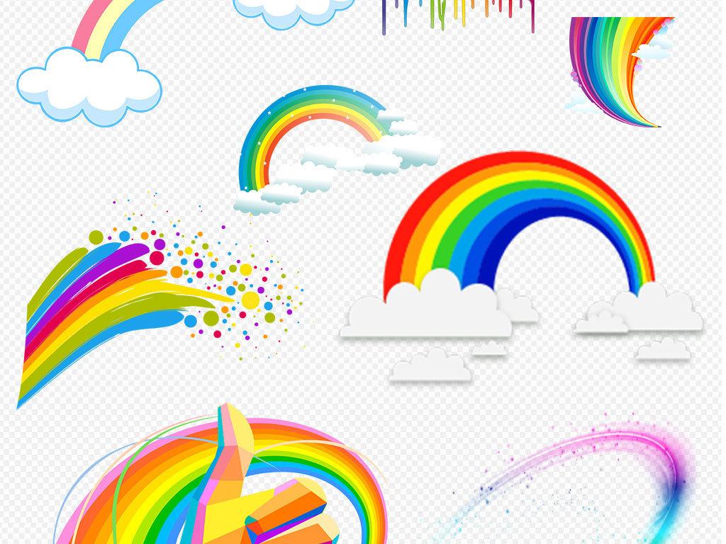 儿童卡通彩虹水彩彩虹图片素材