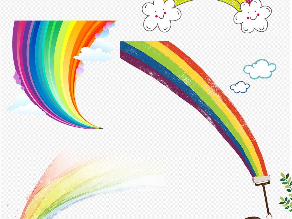 彩虹条手绘彩虹图片