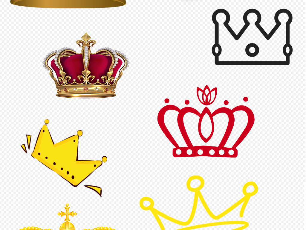 金色皇冠王冠卡通皇冠手绘皇冠素材
