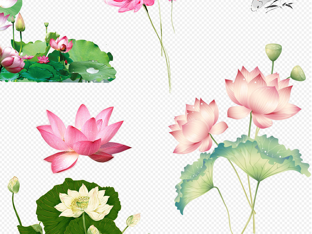 元素ps海报素材手绘蓝色花朵花朵蓝色莲花蓝色花朵背景蓝色梦幻花朵