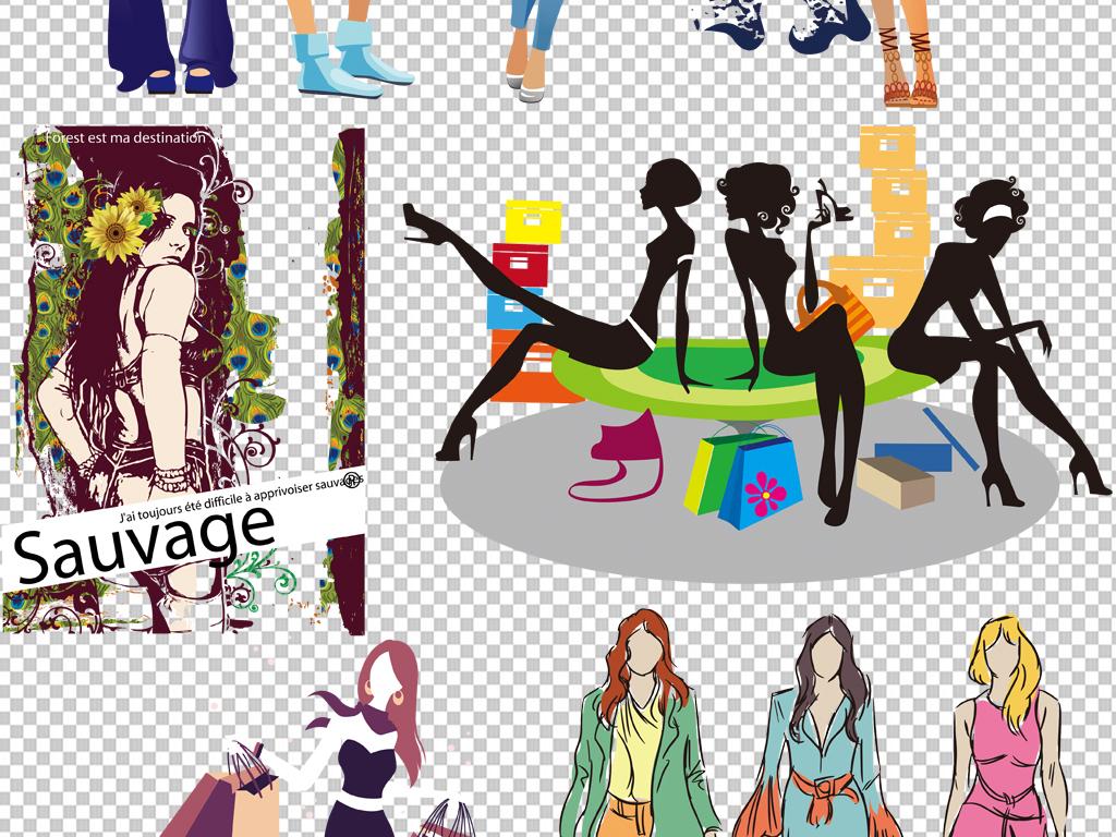手绘矢量图免抠图海报展板高清高清晰素材服装店免抠素材时装模特时装