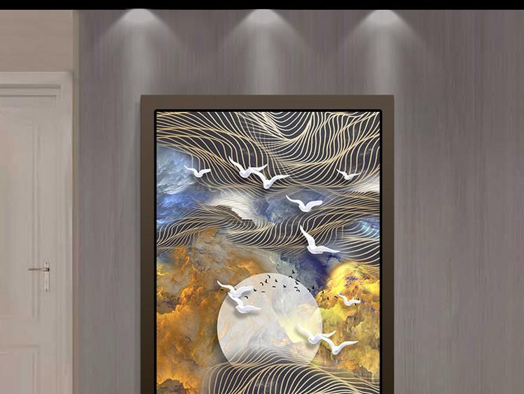 新中式云海线条飞鸟立体玄关背景装饰画