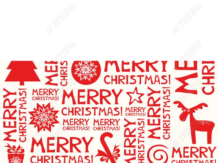 时尚复古圣诞节海报满身印花包装设计图案