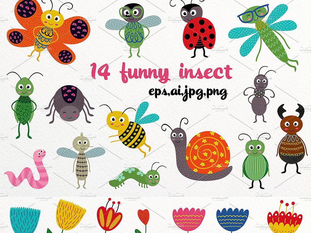 手绘童趣色彩卡通可爱小动物花朵插图海报设计素材