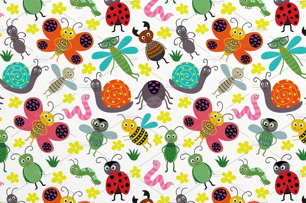 动物 > 手绘童趣色彩卡通可爱小动物花朵插图海报设计素材  版权图片