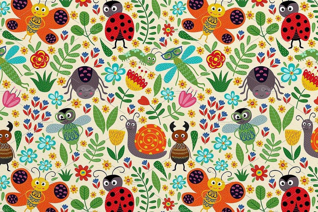 动物 > 手绘童趣色彩卡通可爱小动物花朵插图海报设计素材  素材图片