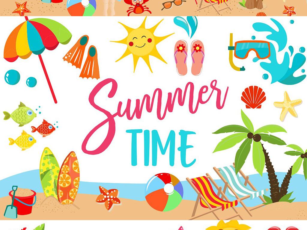 eps+png童趣手绘夏季热带植物螃蟹人字拖阳伞太阳等海报设计素材