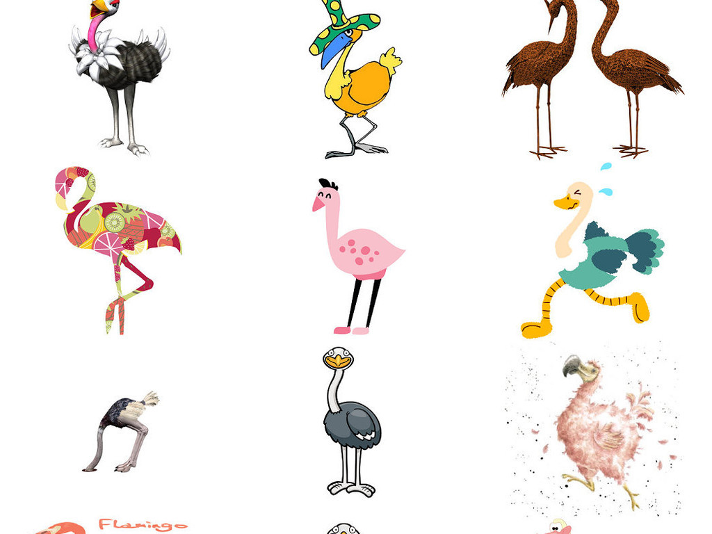 鸵鸟的原理_动物卡通鸵鸟形象设计素材1