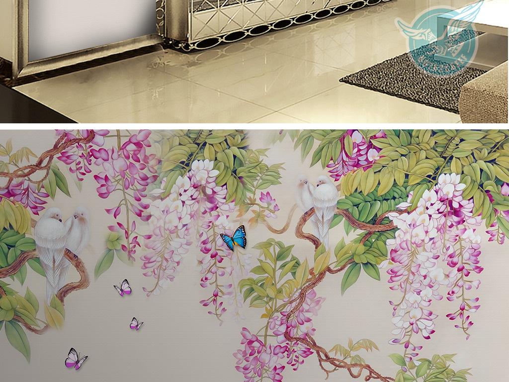 手绘紫藤花蝴蝶电视沙发背景墙装饰画