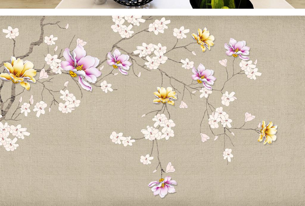 背景墙|装饰画 电视背景墙 手绘电视背景墙 > 手绘花鸟玉兰花电视背景