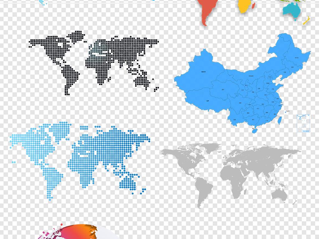 png)世界地图中国地图轮廓素材图片游戏地图矢量图中国地图3d中国地图