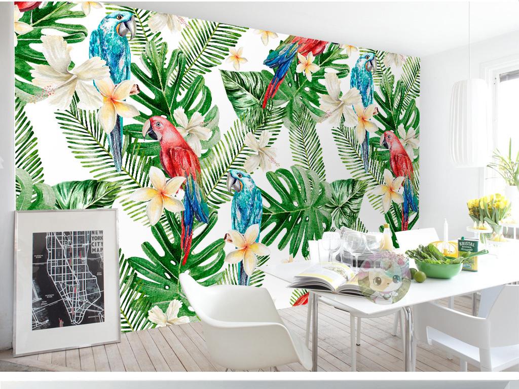 电视背景墙 手绘电视背景墙 > 欧式热带植物叶子鹦鹉背景墙壁画