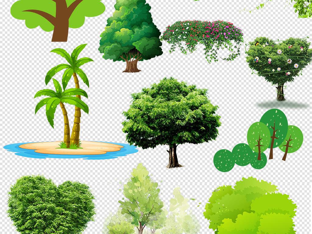 卡通树素材大树树木植物免扣png素材