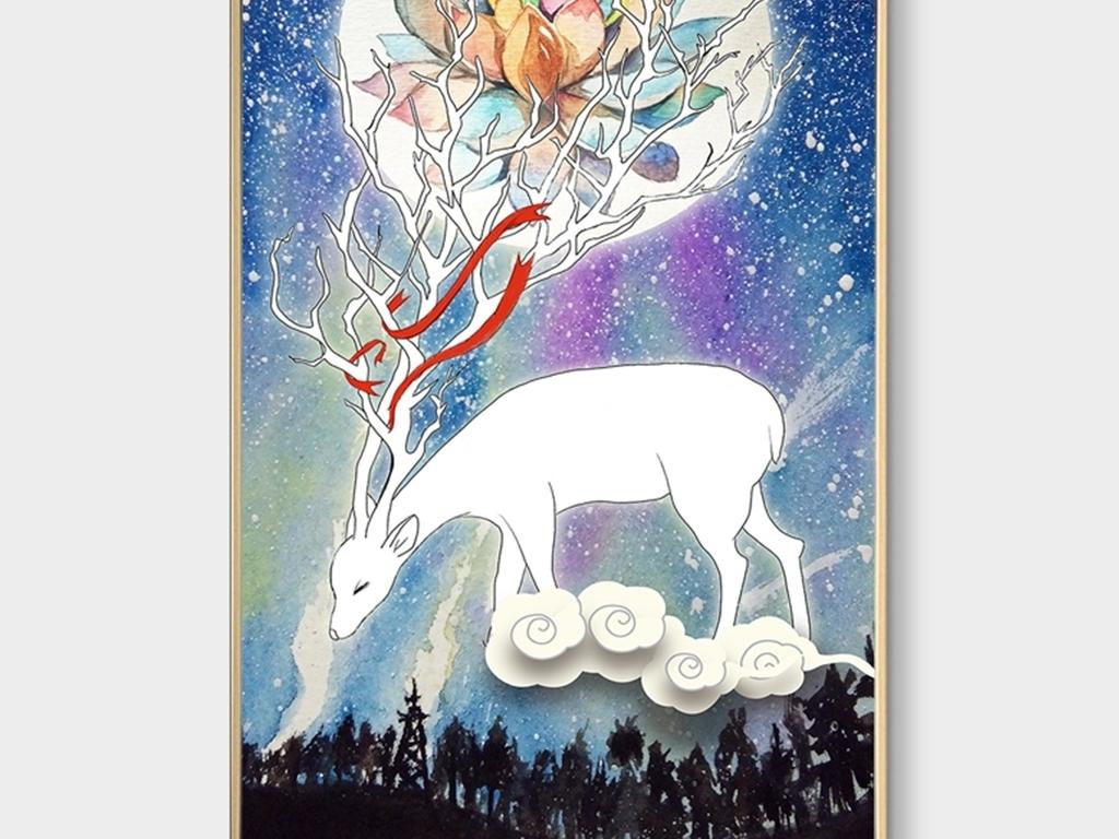 北欧手绘麋鹿星空装饰画玄关背景墙