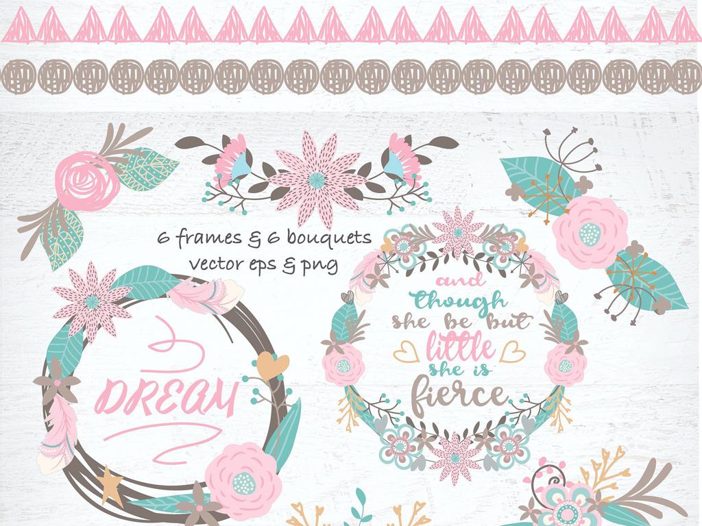 手绘柔美淡雅童趣色彩,花朵叶子卡通动物花环手写文字