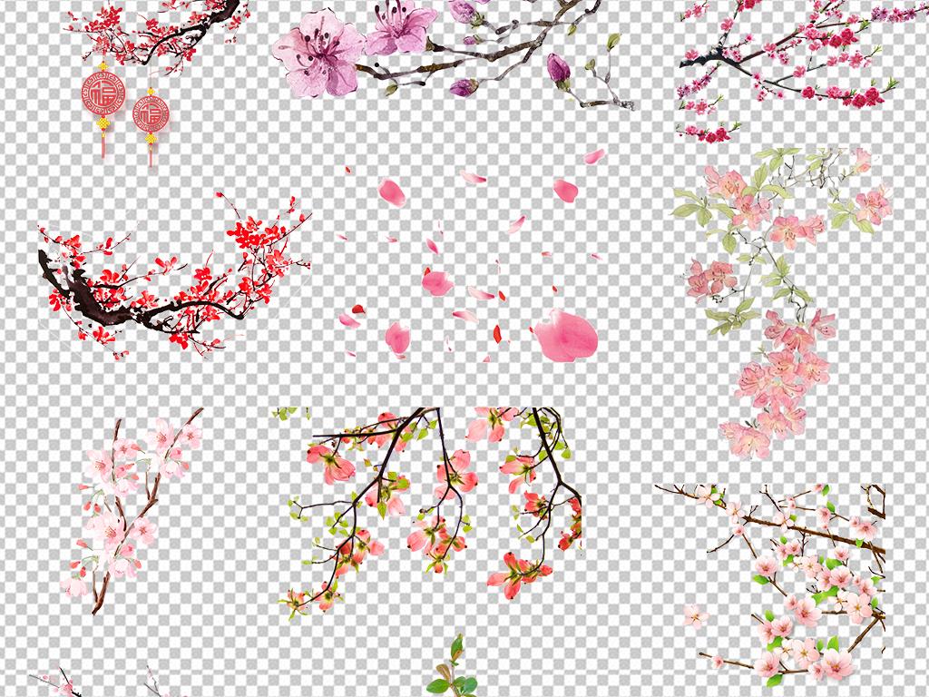 psd)浪漫手绘桃花图片春天春季素材