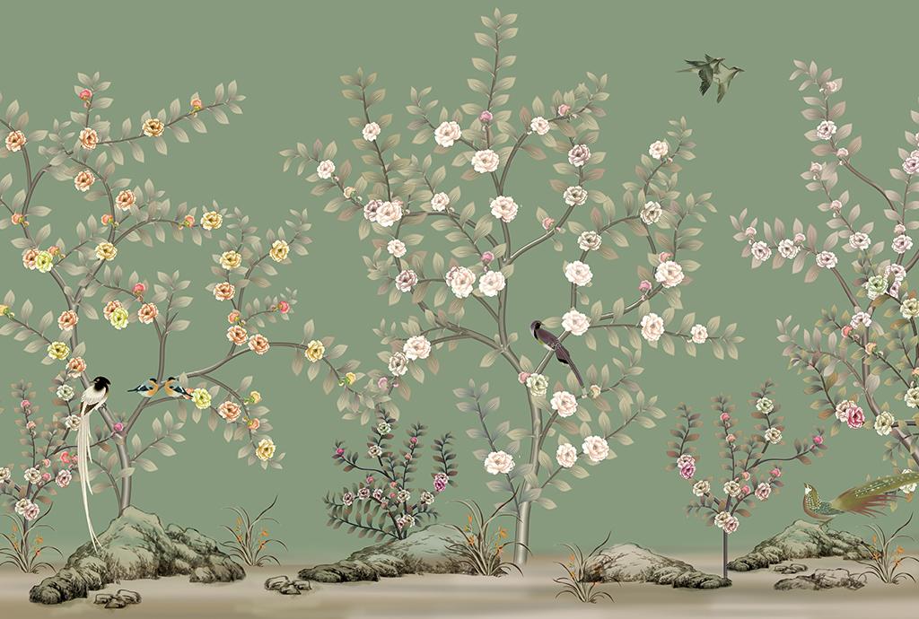 电视背景墙 手绘电视背景墙 > 高清手绘分层花鸟壁画  素材图片参数