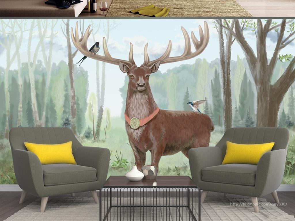 北欧森林麋鹿手绘背景墙
