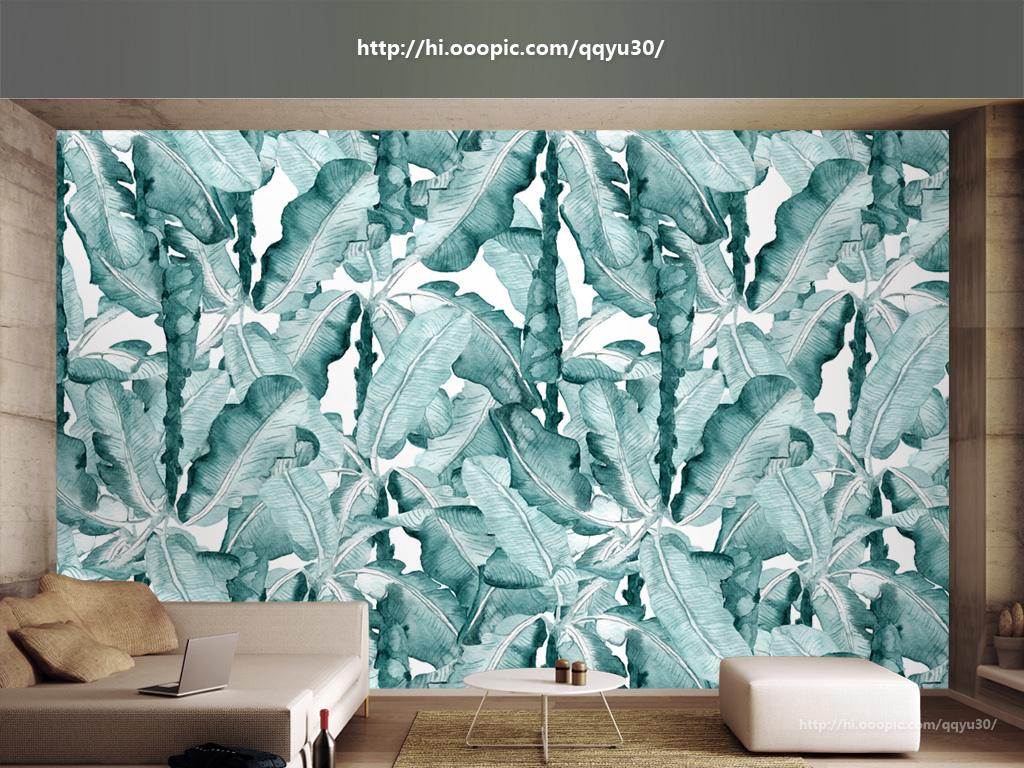 背景墙|装饰画 电视背景墙 手绘电视背景墙 > 北欧水彩手绘植物背景墙