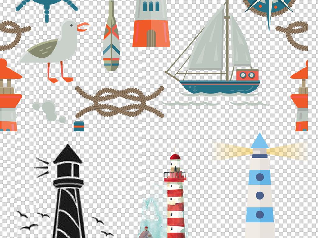 海洋元素卡通灯塔指示灯png海报素材