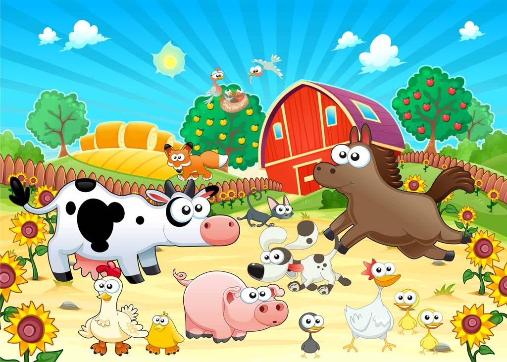 卡通可爱农场动物背景墙