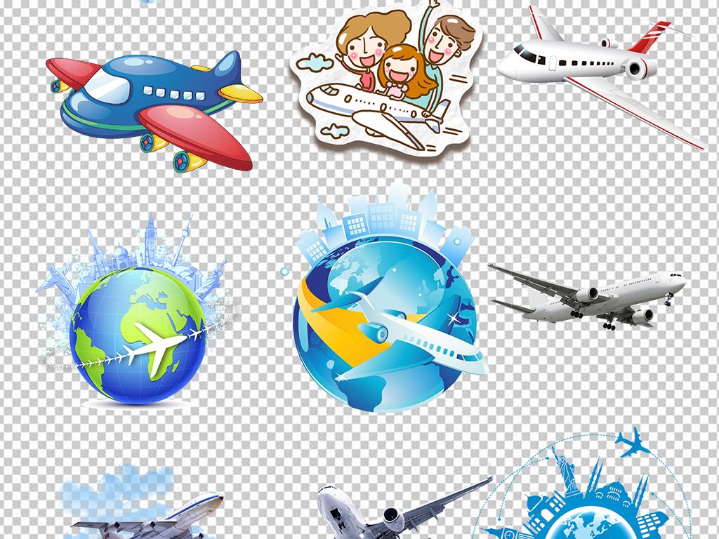 卡通飞机起飞旅行旅游图片素材