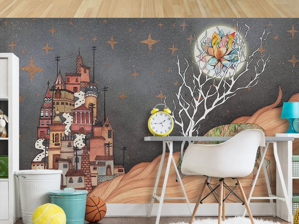 北欧简约手绘麋鹿城堡儿童房屋背景墙