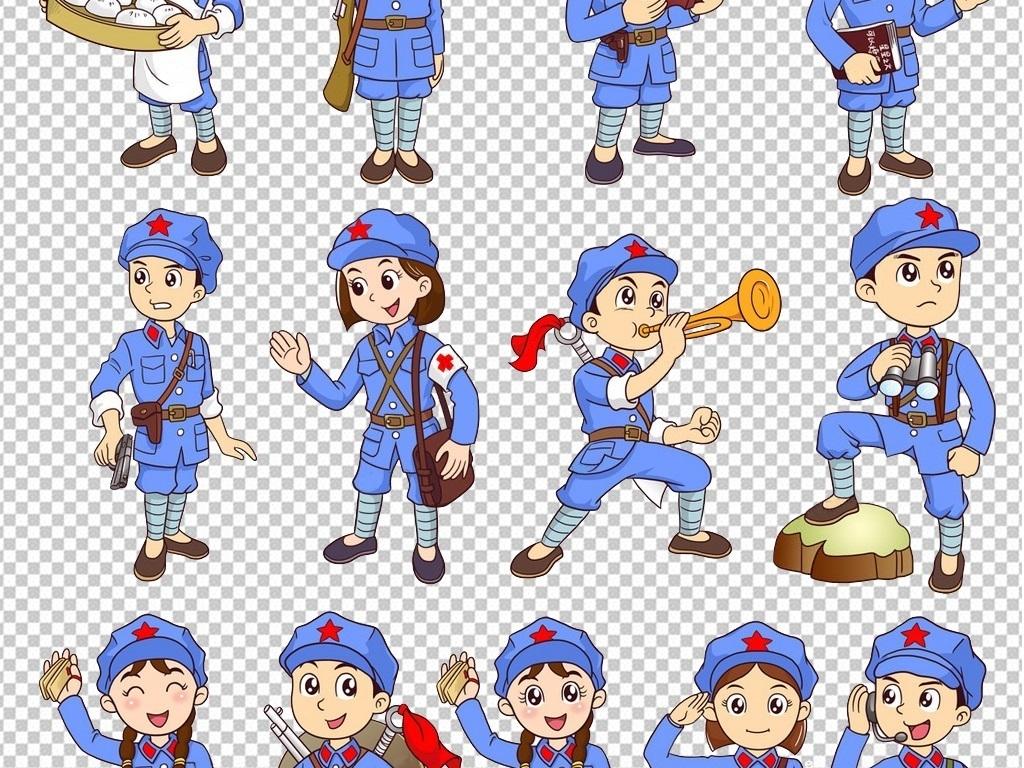 q版人物解放军人警察红卫兵67周年ps海报素材卡通