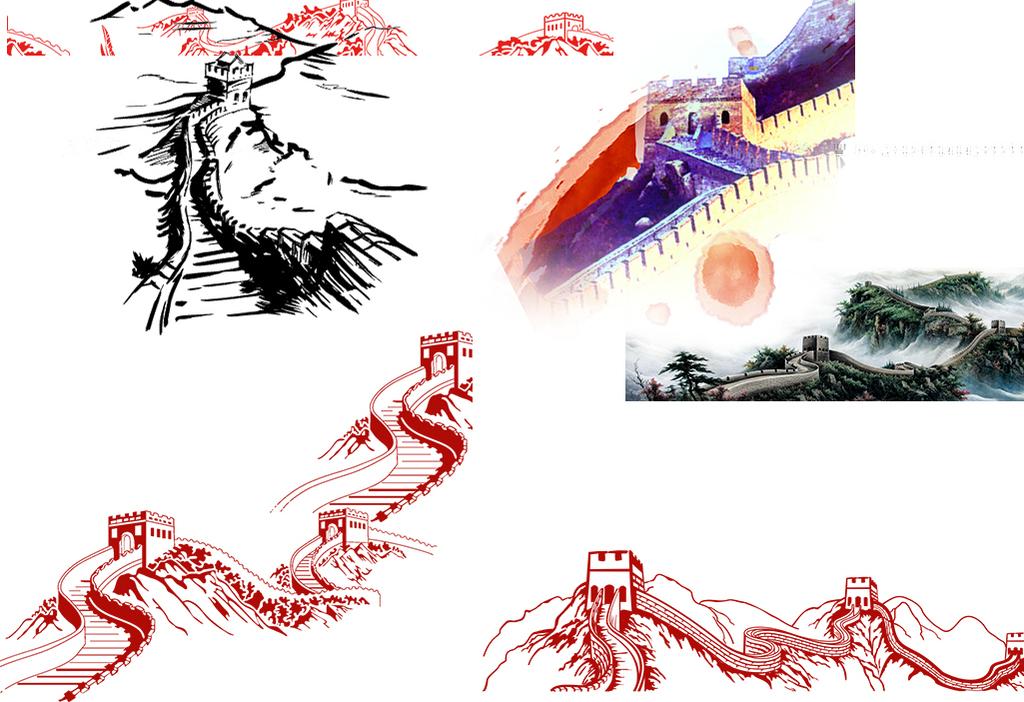 psdps手绘ppt高清素材手绘素材免抠素材手绘万里长城素材手绘中国