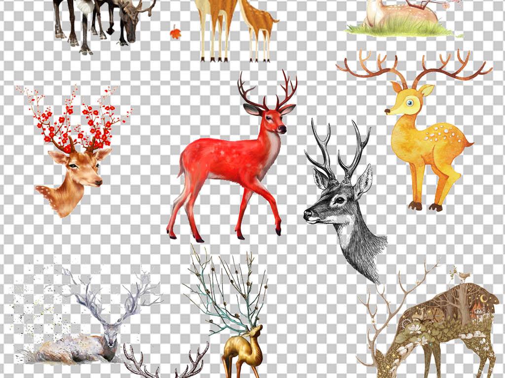 png)水墨画梅花鹿                                  长颈鹿