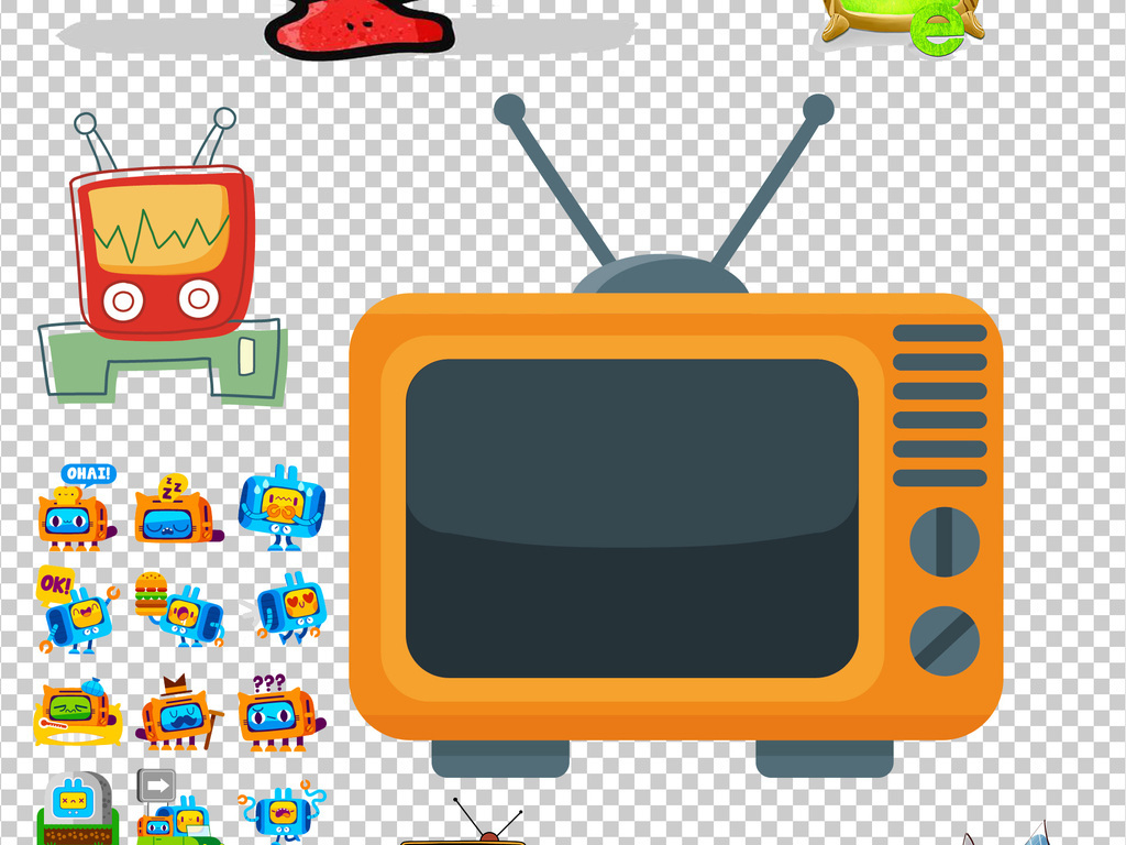 卡通电视机png透明背景免扣素材